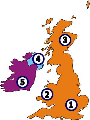 Landesteile von Großbritannien/UK - England - Schottland - Wales ...